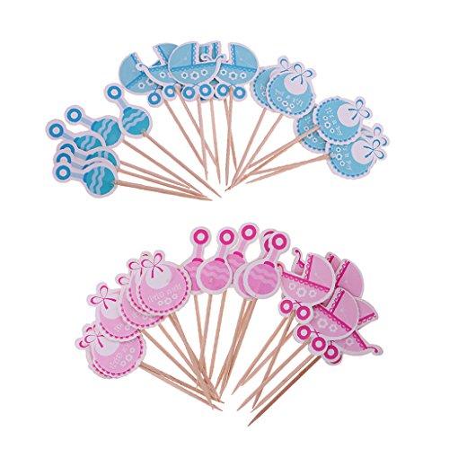 36 Stück Kuchendeckel Kuchenaufsatz Kuchen Topper Kuchen-Sticks Tortendeko für Baby Taufe Babyshower, Lätzchen, Kinderwagen, Rassel Design
