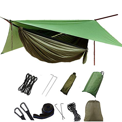 Camping Hammocks with Rain Fly Tarp and Mosquito Net Tent Tree Straps, Portable Single Double Nylon Parachute Hammock Rainfly Set for Yard Backpacking Hiking Travel Outdoor Activities