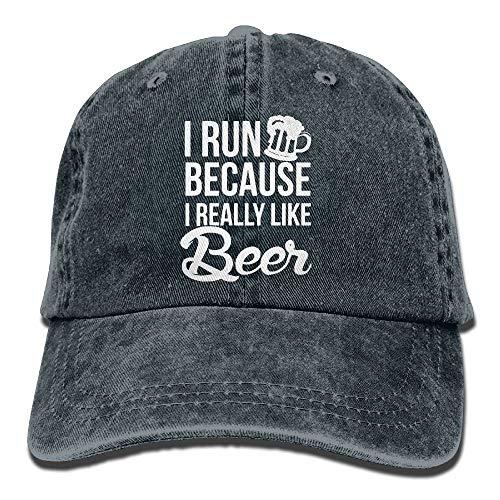 angwenkuanku Unisex-Baseballmütze Yarn-Dyed Denim Hat Ich laufe, Weil ich Bier wirklich mag Einstellbare Snapback Peak Cap wunderschöne 6899