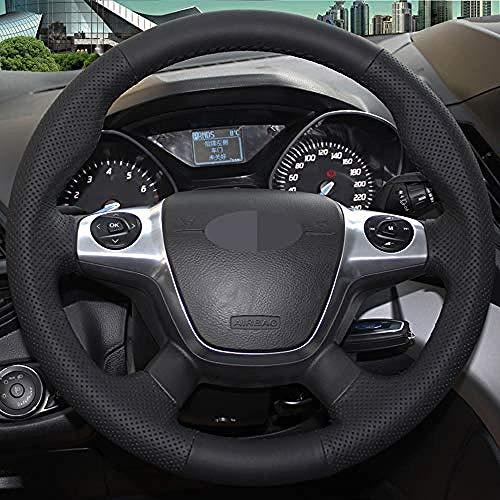 ZYTZK , Funda para volante de coche Ford Focus 3 2012 2014 KUGA Escape 2013 2016 C MAX 2011 2018 Black-Light_Blue_Thread