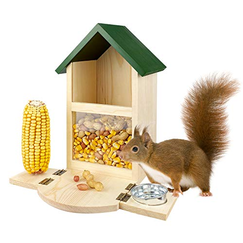 MIXXIDEA Wooden Squirrel Feeder Box, Multifunctional Squirrel Feeding House with Cup, Easy to Fill, Durable with Solid Structure, , Squirrel Feeders for Outside, Garden