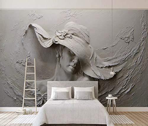 Fototapete 3D Effek Tapete Relief Schönheit Skulptur Frau Gips Wand Vliestapete 3D Tapeten Moderne Wanddeko Wandbilder - 200x140cm