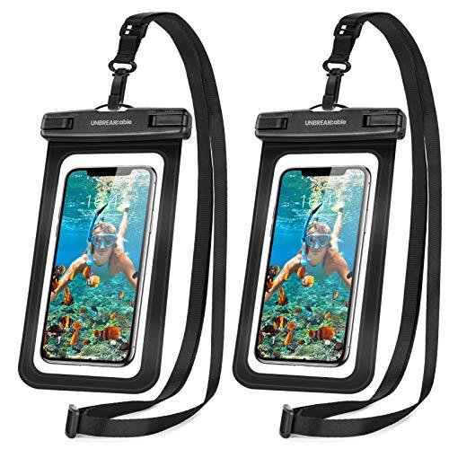 UNBREAKcable wasserdichte Handyhülle - (2 Stück) bis zu 6,6 Zoll IPX8 Waterproof Phone Case, Wasserschutzhülle Urlaub, Schwimmen, Baden für iPhone 11 Pro Max/iPhone SE/Huawei/Samsung - Schwarz