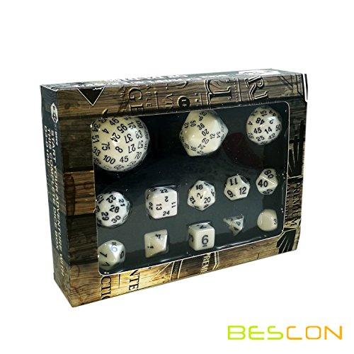 Bescon Vollständige Polygonal Polyedrische Würfel Set 13pcs D3-D100, Dungeons und Dragons Würfel Set D3 D4 D6 D8 D10 D% D12 D20 D24 D30 D50 D60 D100 Weiße Farbe