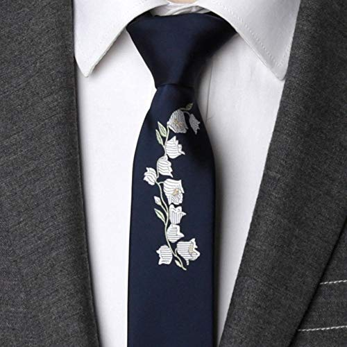 ZHAOSHUNAN Krawatten Herren Krawatte Bestickte Blumen Krawatte Schmale Krawatte Hochzeit Fliege Herren Kleid Geschenk Krawatte @ A