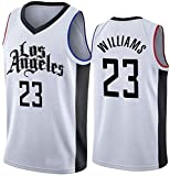 JYV Classique de Basket-Ball Jersey Vest, Los Angeles Clippers Manches, Lou Williams 23#, T-Shirt Unisexe Confortable en Tissu Respirant (Couleur : White, Size : XL)