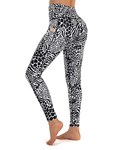 Promover Yoga Pants with Pockets High Waist Leopard Print Leggings for Women Tummy Control Yoga Leggings Running Tights (Black/White Leopard, Small)