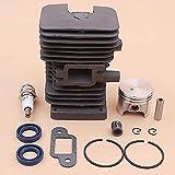Haute qualité Kit de Piston de Cylindre de 37mm Compatible avec Stihl MS170 017 MS 170 Joint de Silencieux Joint d'huile roulement Bougie d'allumage tronçonneuse 1130020 1204