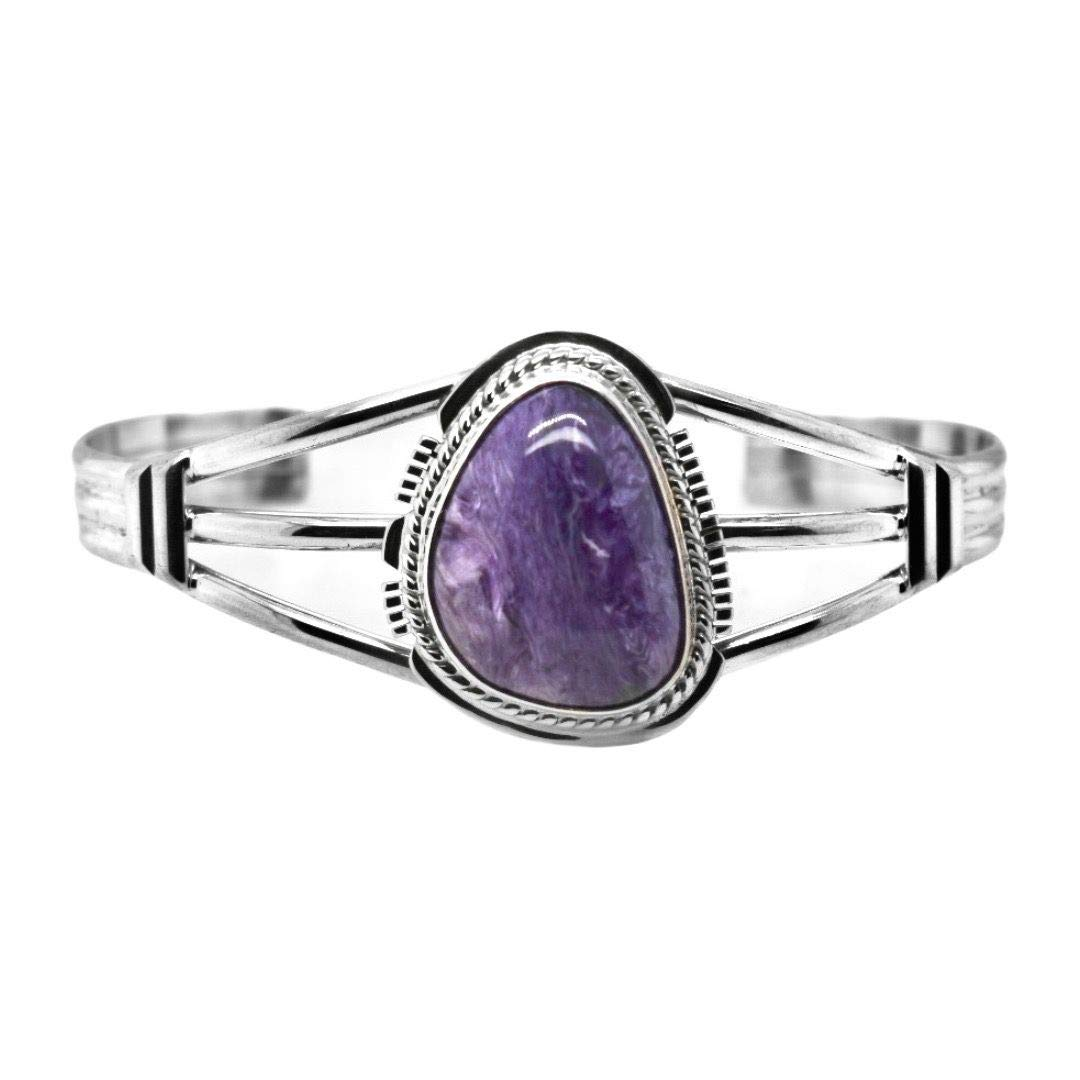 Genuine Purple Manufacturer direct delivery Charoite Cuff Sterling Bracelet Spring new work Authenti Silver