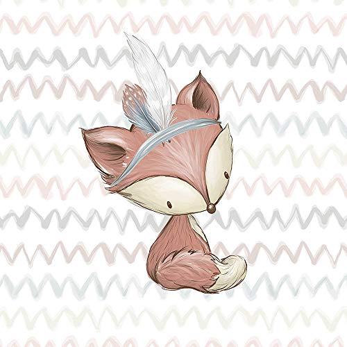 Herz Stoffe Österreich: 1 Sommersweat - French Terry Panel (small, 32x43cm) Waldfreunde – Fuchs mit Indianerfeder – beige rosa blau braun – Einzelmotiv Ökotex