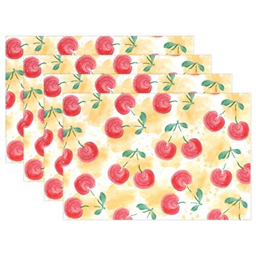 LINDATOP Lot de 4 sets de table en polyester résistant à la chaleur Motif cerises aquarelle 30,5 x 45,7 cm