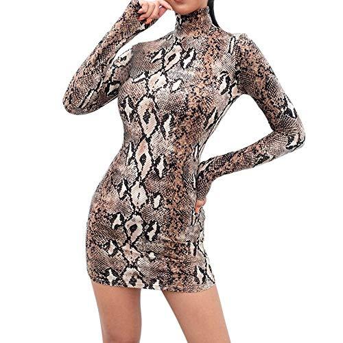 VJGOAL Mujer Primavera Moda Casual Sexy Manga Larga Cuello Alto Serpiente a Rayas de impresión Vestido Mini Vestido