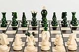 Great KINGDOM Juego de ajedrez de madera hecho a mano de 35 cm / 13,8 pulgadas con borradores / damas / borradores (verde)