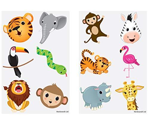 KINPARTY ® - 84 x Tatuajes Temporales Animales Jungla Diseños Surtidos para Niñas/Niños – Tatuajes para regalos de cumpleaños, fiestas, celebraciones, relleno de piñatas, regalos sorpresa