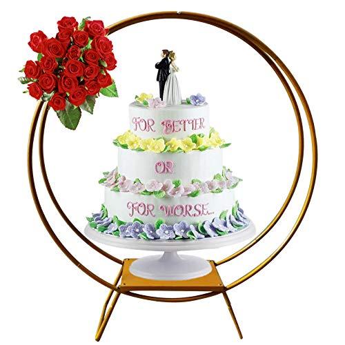 Soporte para tartas de boda, doble varilla, arco, soporte para tartas, arco de boda, 80 cm de diámetro, decoración para boda, fiesta de cumpleaños, color dorado