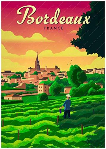 Burdeos, Francia, país del vino, mapa turístico, póster, revestimiento artístico, póster, lienzo, pintura al óleo, decoración, lienzo 40X60cm amarillo