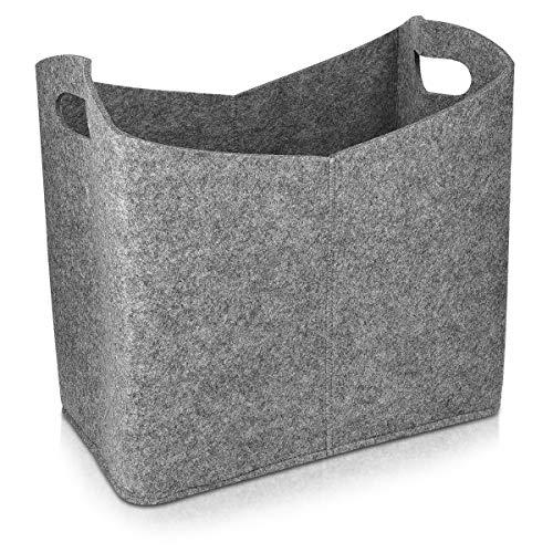 Navaris Cesta de Fieltro para Almacenamiento - Bolsa Rectangular de 40 x 23 x 39.5 CM - Cesto para almacenar leña revistas periódico con Asas - Gris