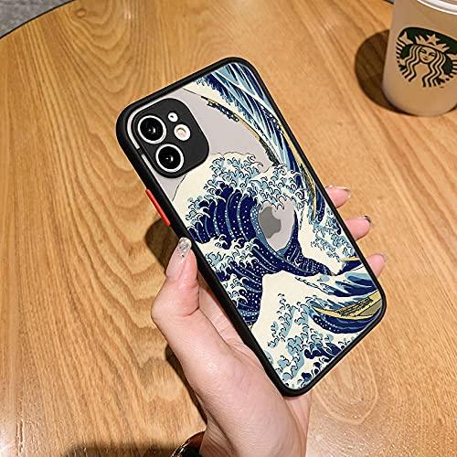 Kanagawa Ukiyoe - Carcasa protectora de silicona para iPhone 12 11 Pro X S Max XR 6 7 8 Plus