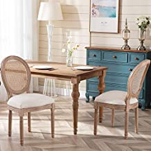 Virabit French Dining Chairs Set of 2, Rattan Farmhouse Upholstered Dining Chairs with Curved Backrest and Beautifully Carved Solid WoodFrame for Living Room, Kitchen, Restaurant