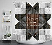 甘い農家の市松模様のボードバスルームシャワーカーテン家の装飾カーテンプリント180x200cm無料12フック