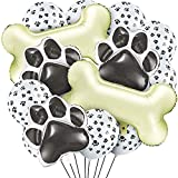 46 Pieces Dog Themed Balloons Include 40 Pieces Dog Paw Print Latex Balloons 3...