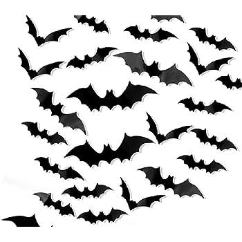 60//120Pcs 3D Bats Sticker Halloween Bat Wall Decals Stickers Window Doors Decors