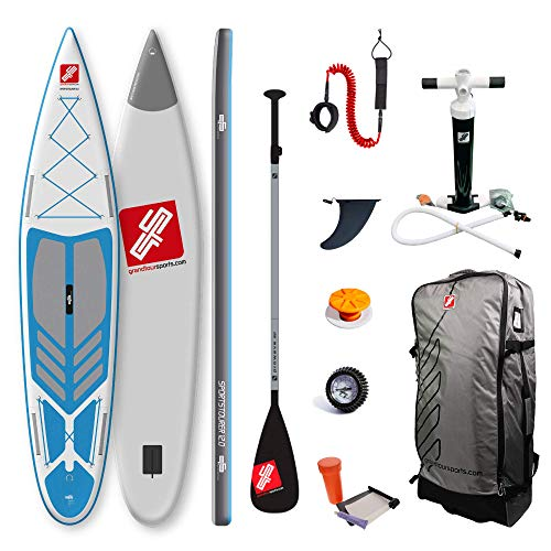 grandtoursports*com Stand Up Paddle Board and Paddle, 75 x 366 x 15 cm, 315 L, up to 95 kg, Inflatable SUP Stand Up Paddling Board GTS Sportstourer 12.0 BGW Including Accessory Set