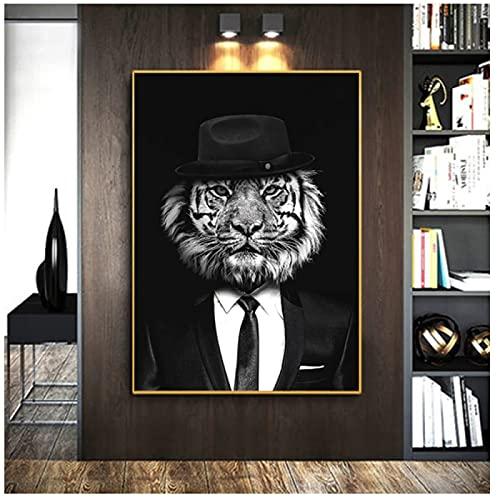 Pintura moderna de la lona de animales con clase de tigre y león carteles e impresiones Cuadros arte de la pared para la sala de estar decoración del hogar