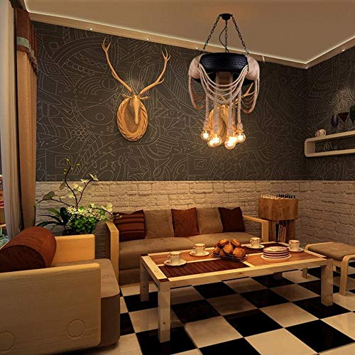 Retro cafe kleding banden hennep lantaarn Hotel Internet Caf eacute; creatieve gepersonaliseerde hennep lichtslang, zwart, 46 cm