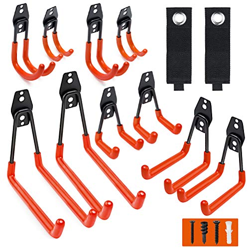 Garage Hooks 12 Pack Wall Storage Hooks with 2 Extension Cord Storage Straps Heavy Duty Tool Hangers for Utility Organizations Wall Mount Holders for Garden Lawn Tools Ladders Bike Orange