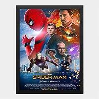 ハンギングペインティング - スパイダーマン ホームカミング マーベル 5のポスター 黒フォトフレーム、ファッション絵画、壁飾り、家族壁画装飾 サイズ:33x24cm(額縁を送る)