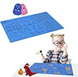CHENIB 3D Pen Mat, 3D Printing Pen Heat-Resistant Silicone Pad with Patterns, Foldable Design 3D Pens Drawing Tools with 2 Finger Protectors (16.4 x 10.9 Inch) (Blue)