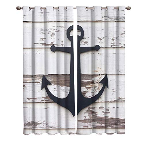 JNBGYAPS Blackout Curtains 3D Anchor pattern on wood grain printing Thermal Insulated Curtains Eyelet Super Soft Window Treatment for Bedroom Window Decoration parlor bathroom 2 x 43.3 x 84.6 Inch