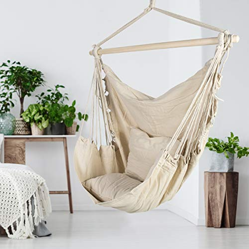 ASTEROUTDOOR Hammock Chair Hanging Rope Swing with 2 Cushions and Wood Spreader Bar for Indoor or Outdoor Use Beige