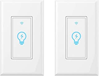 Smart Light Switch, Compatible With Amazon Alexa, Google Home and IFTTT, Remote Control Your Fixtures From Anywhere, Timing Function, Overload Protection, No Hub Required 2 pack