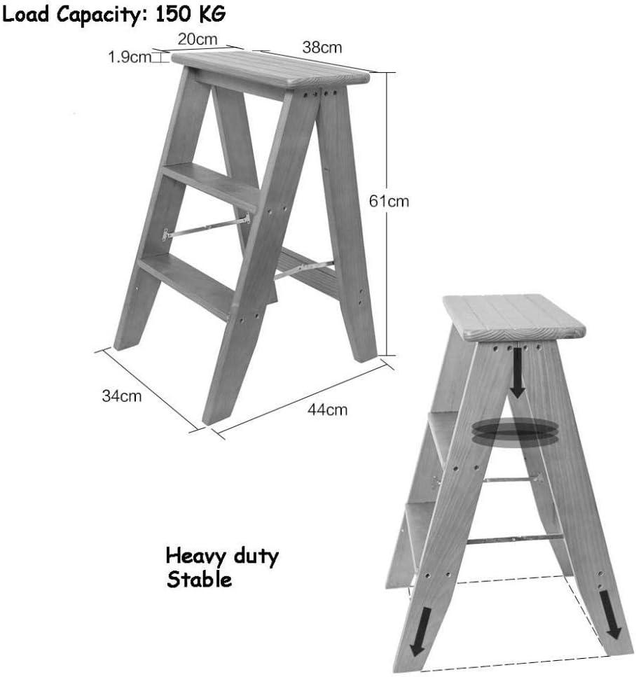 YAHAO Escabeau Pliant Le Tabouret De Chaise De Marche/échelle à 3 Bandes De Roulement, Chaise en Bois De Ménage D'escalier, Siège en éponge D'escabeau,Gray Blue