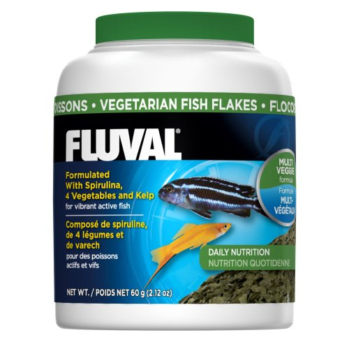 Fluval Vegetarian Flakes Fish Food 60gm, 2.12-Ounce