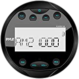 Pyle Round Waterproof Marine Stereo - 4x28 W Aquatic Boat In Dash Gauge Radio Receiver System with Bluetooth, AM FM,...