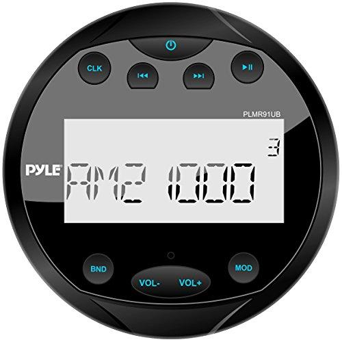 Pyle Round Waterproof Marine Stereo - 4x28 W Aquatic Boat In Dash Gauge Radio Receiver System with Bluetooth, AM FM, Digital LCD, USB, AUX, RCA - Includes Wiring Harness, Bracket - PLMR91UB (Black)