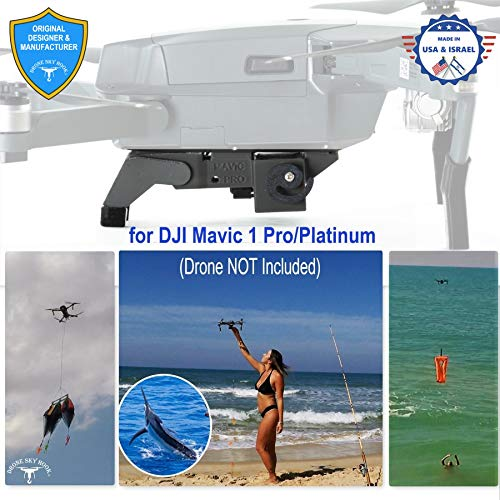 Professional Release and Drop device for DJI Mavic 1 Pro/Platinum, for Drone Fishing, Bait Release, Payload Delivery, Search & Rescue, Fun Activities - Free Drop Parachute Included -