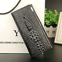 Baellerry leather lady's wallet long zippered crocodile-print wallet large-capacity handbag (BLACK)