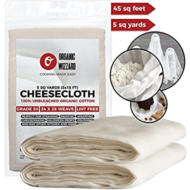 Cheesecloth - Organic Unbleached Cotton Fabric - Grade 90 Ultra Fine Mesh. 45 Sq Feet (5 yards) of 100% Natural, Washable and Reusable Food Filter/Strainer