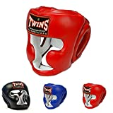 Twins Special Headgear Head Guard for Protection in Muay Thai, Boxing, Kickboxing, MMA (Red, S)