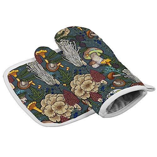 Yutess Hittebestendige geïsoleerde oven wanten pannenlappen Keuken Oven Handschoenen voor het bakken BBQ Grilling Mushroom Forest {Aangepast, Gepersonaliseerd}