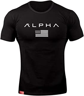 American Flag Letter Printed T Shirt for Men Slim Fit Muscle New Casual Fashion Short Sleeve Tops Blouse Black