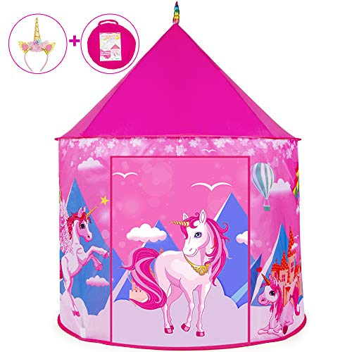 HUFUN Unicorns Kids Play Tent for Girls Xmas Gifts for Girls and Boys Princess Tent Playhouse for Kids Indoor/Outdoor Use