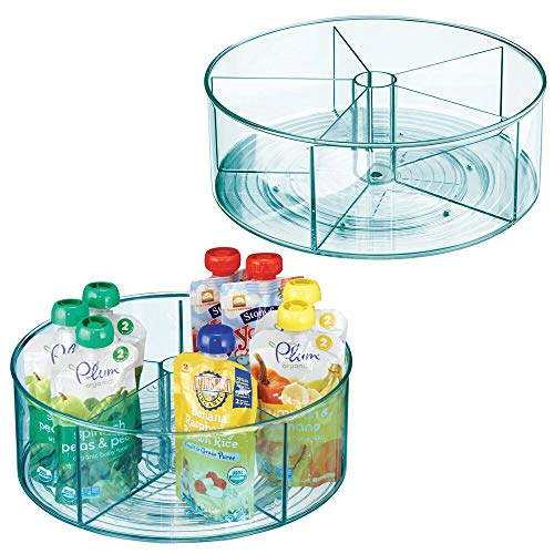 mDesign Divided Lazy Susan Turntable Storage Container for Kitchen Cabinet, Pantry, Refrigerator, Countertop Food Safe - Spinning Organizer for Kids/Toddler's Food Pouches - 2 Pack - Blue Tint