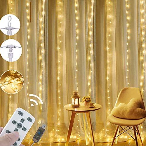 [Nieuwe Versie] LEDGLE Lichtslingers Gordijn USB Afneembaar Gordijn met Afstandsbediening, 8 Modi, IP67 Waterdicht, Warm Wit