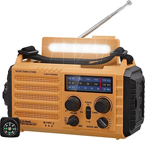Tragbare Solar Radio, Notfall Radio mit Kurbel, Dynamo Wetter AM/FM/SW Radio,5000mAh Wiederaufladbare Powerbank,USB-Handy-Lader,LED Taschenlampe & Leseleuchte,SOS Alarm,Kompass für Camping Ourdoor