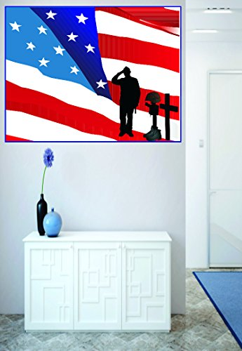 American Flag War Solider Combat Boots Cross Gun Peel & Stick Sticker Vinyl Wall Decal Size: 16 Inches x 16 Inches